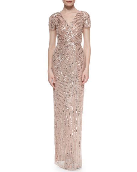 Jenny Packham Allover Beaded Knotted Gown, Bay