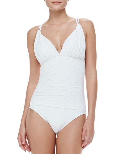 Mio Ruched Cross-Back One-Piece Swimsuit, White
