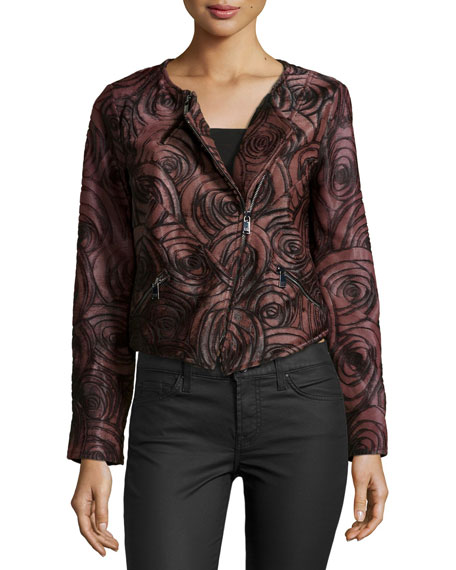 Long-Sleeve Floral Leather Jacket, Burgundy