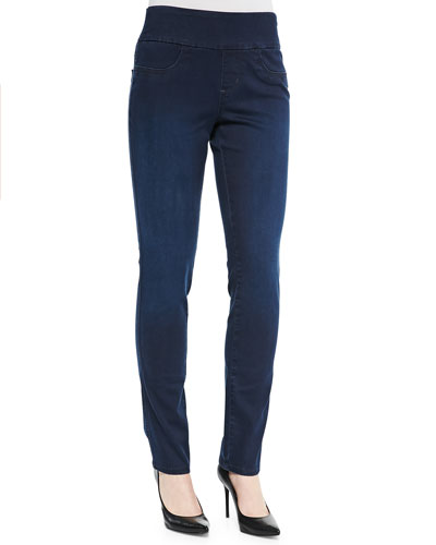 Liliana Luxe Denim Leggings. Blue