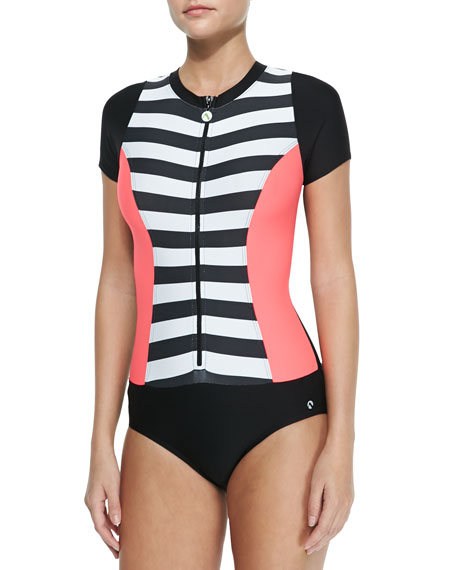 Lined Up Zip-Front One-Piece Swimsuit