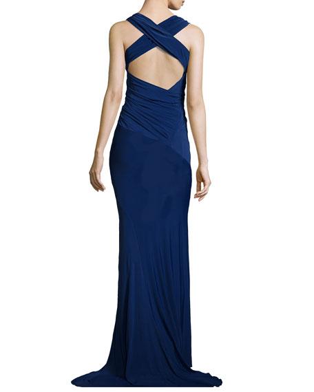 Sleeveless Crisscross-Back Gown, Blue