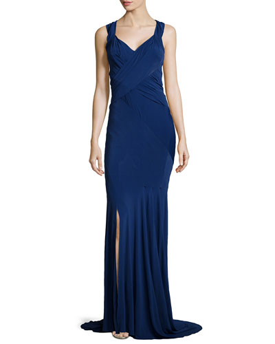Sleeveless Crisscross-Back Gown, Blue