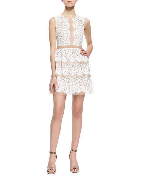 Two-Tone Tiered Lace Dress
