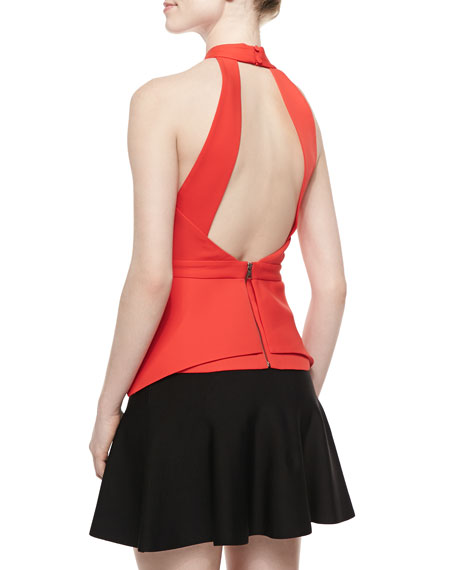 BCBGMAXAZRIA Remmie Cross-Neck Cutout Top, Bright Poppy