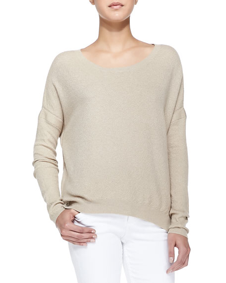 Textured Knit Drop-Sleeve Sweater