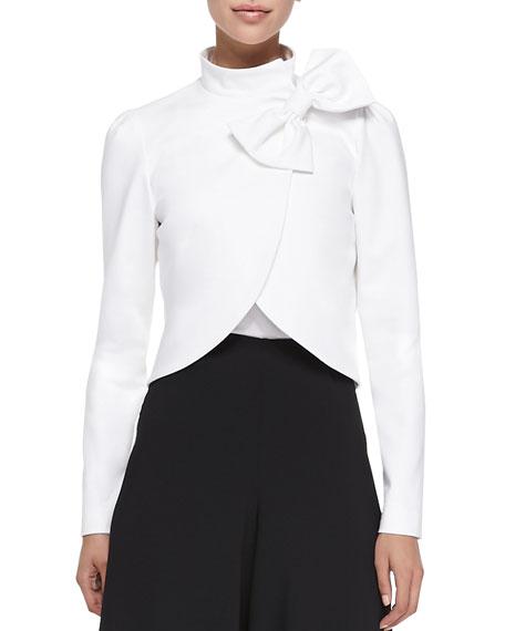 Alice + Olivia Bow-Neck Jacket with Round Hem, White