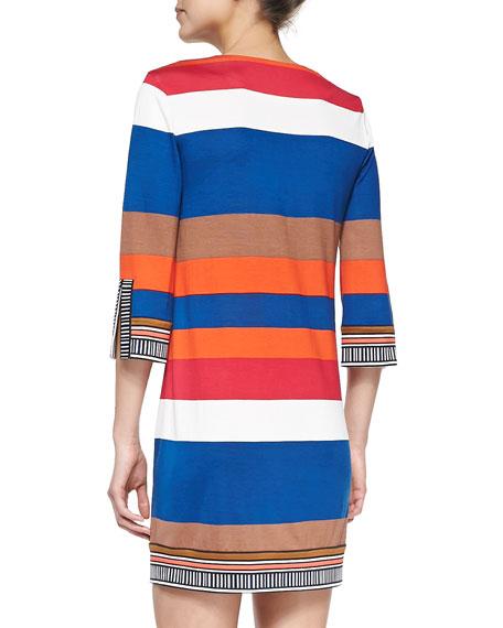 Rose Half-Sleeve Striped Silk Dress