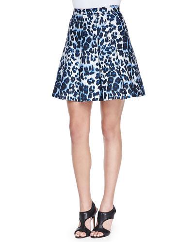 Gemma Leopard-Print Pleated Skirt