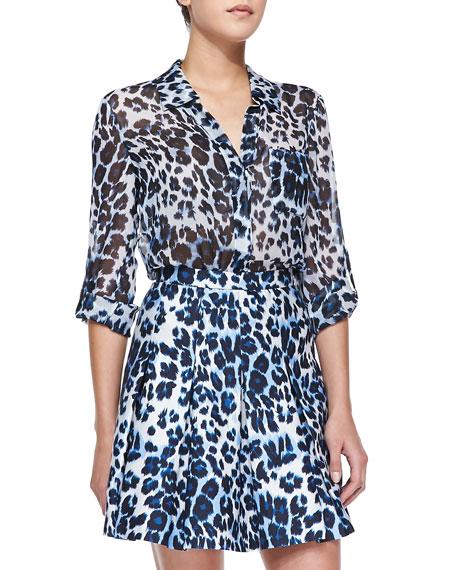 Lorelei Floral-Print Silk Blouse, White/Blue