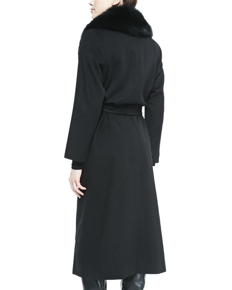 Fur-Collar Long Wrap Coat, Black