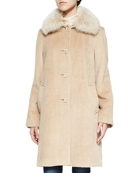 Sofia Cashmere Alpaca Button-Front Coat W/ Fur Collar