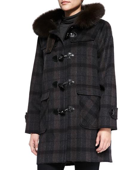 Plaid Coat W/ Fur-Trimmed Hood