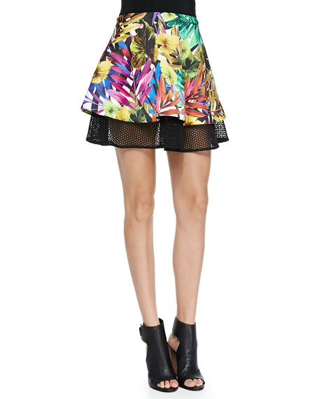 Tropical Mesh Circle Flounce Skirt