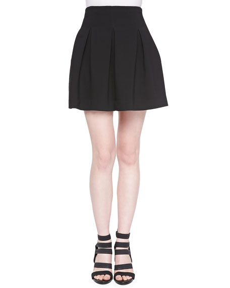 Milly Double-Weave Cady Pleated Skirt