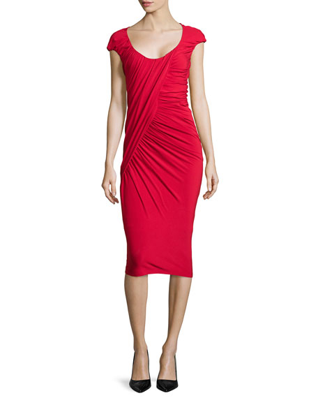 Donna Karan Cap-Sleeve Ruched Jersey Dress, Scarlet