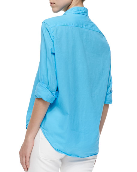 Eileen Long-Sleeve Poplin Blouse, Light Blue