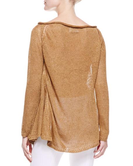 Slash-Neck Linen Top, Clay