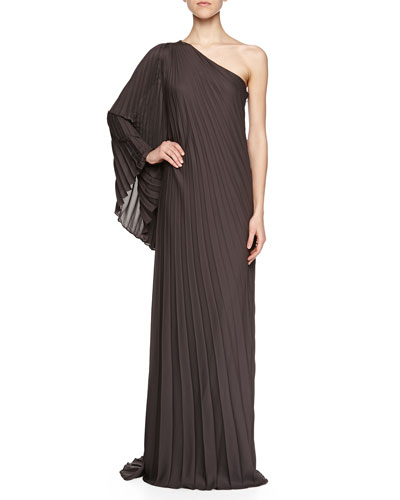 One-Sleeve Pleated Gown