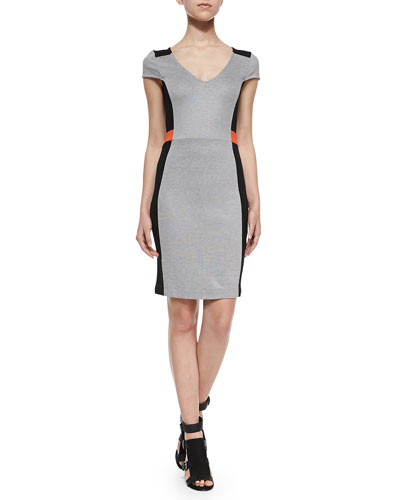 Cap-Sleeve Fitted Colorblocked Dress