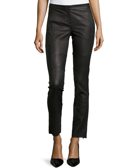 Halston Heritage Skinny Zipper-Cuff Leather Pants