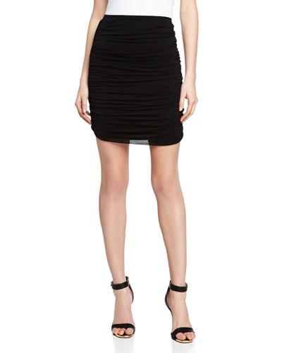 Ruched Chiffon Skirt, Black