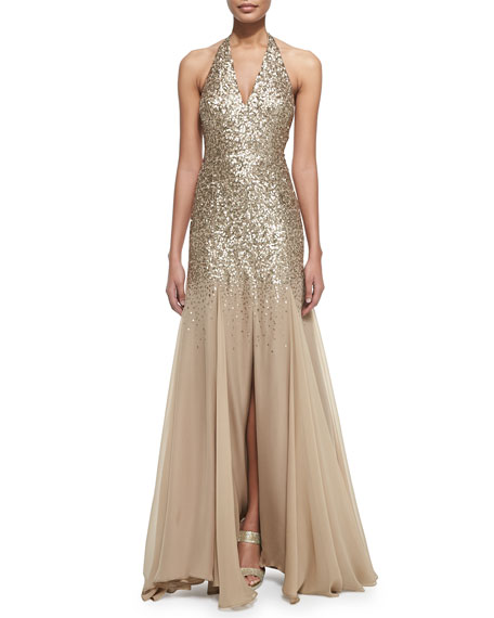 Halston Heritage Half-Sequined Halter Mermaid Gown