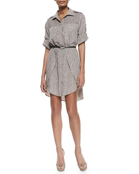 Long-Sleeve Printed Shirtdress W/ Belt