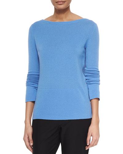Cashmere Long-Sleeve Back Wrap Drape Sweater