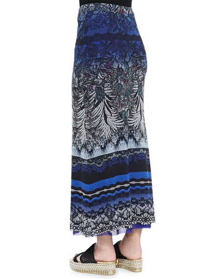 Lace-Print Tulle Maxi Skirt