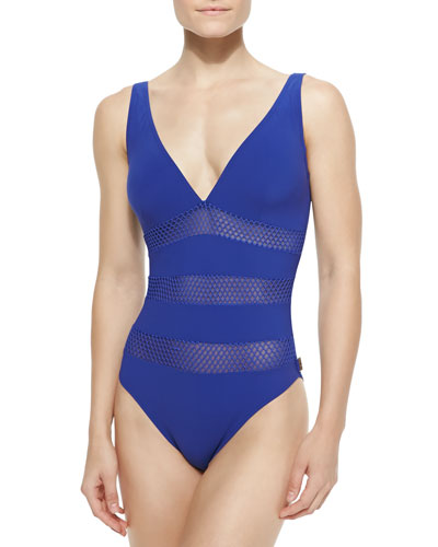 Florence Mesh-Stripe One-Piece Swimsuit