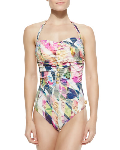 Charlotte Gathered Floral-Print Swimsuit