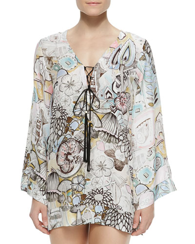 Estelle Tie-Front Printed Coverup