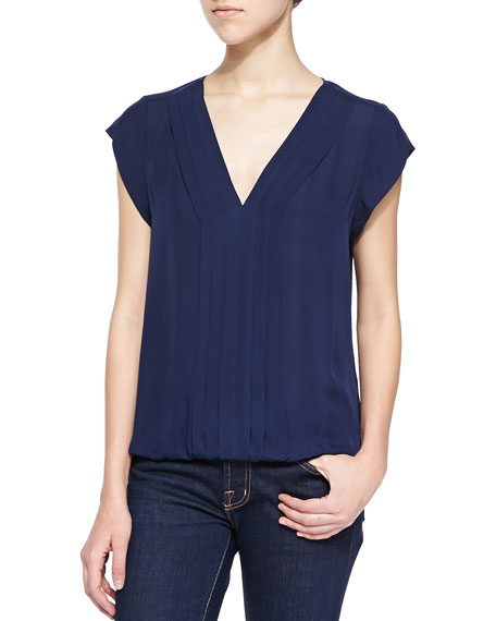 Joie Marcher V-Neck Top with Pleated Front, Navy
