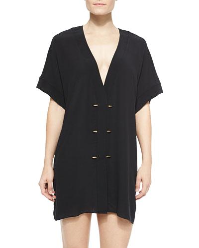 Lupita Kimono-Sleeve Tunic W/ Rivets