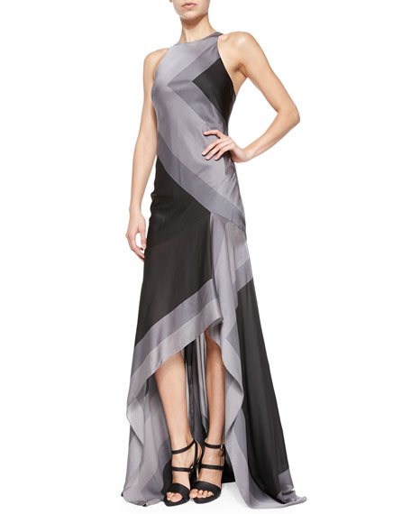 Halston Heritage Sleeveless Scarf-Print High-Low Gown