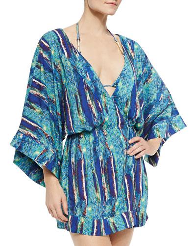 Stone-Print Wrap Kimono Coverup