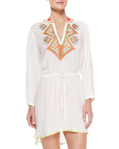 Embroidered Voile Drawstring Tunic