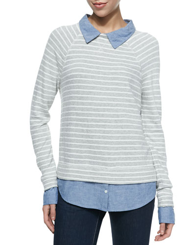 Diadem Striped Raglan-Sleeve Layered Sweater