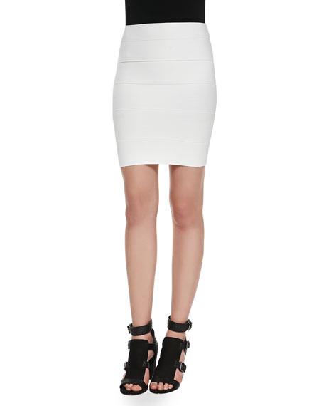 BCBGMAXAZRIA Simone Bandage Pencil Skirt, White Gardenia