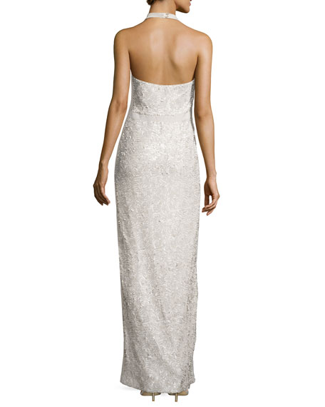 Halston Heritage Sequined Halter Jersey Gown, Champagne