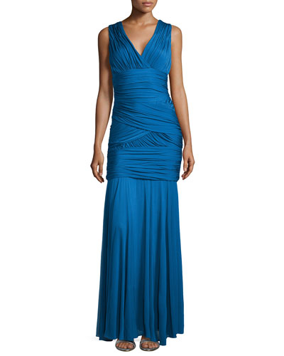 One-Shoulder Ruched Gown, Sapphire