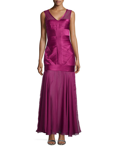 Sleeveless V-Neck Illusion Gown