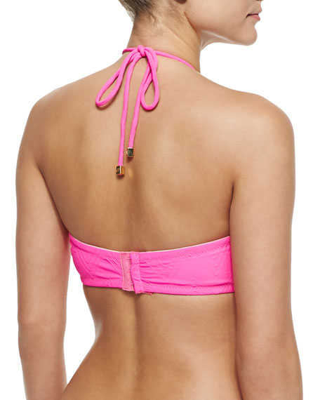 Textured Cinched Bandeau Swim Top