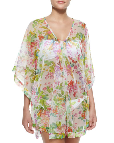 Sheer Botanical-Print Trapeze Tunic