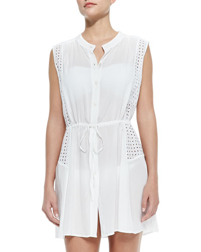Eyelet-Panel Drawstring Coverup Dress