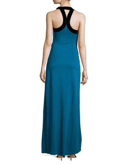 Cutout Wrap-Front Gown, Cadmium/Black