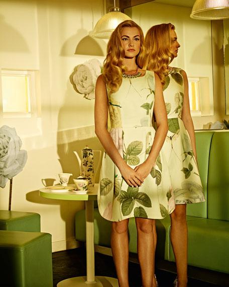 Distinguishing Rose Pleated Cotton Sleeveless Dress