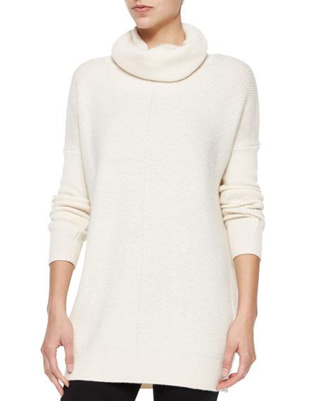 Chevron-Knit Turtleneck Sweater