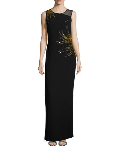 Sleeveless Embellished Gown, Black/Gown